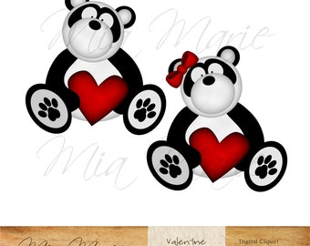 INSTANT DOWNLOAD - Digital Clip Art - Valentine Clip Art, Valentine Clipart, Valentines Day, Panda Clip Art, Panda Clipart, Bear Clip Art