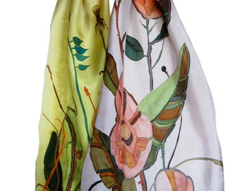 Silk Scarf Spring Easter Flowers. Hand Painted Silk Scarf. Long Silk Scarf 15 x 65. Spring Spirit Silk Scarf. Designer Silk Scarf. Flowers.
