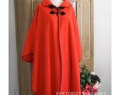 90s - Snuggle Up - cherry red fuzzy blanket poncho cape - OSFM