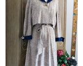 50s - Miss Lucy - taupe flecked fabric dress and bolero with navy trim - size M L