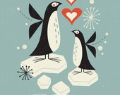 Penguins On Ice limited edition giclee print, Children's art print, nursery decor