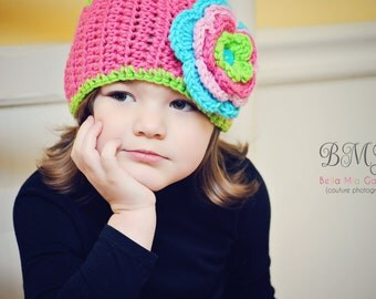 Fun and Bright Adjustable Child Crocheted Head wrap Ear warmer in Hot Rose, Turquoise, Lime, and Pink
