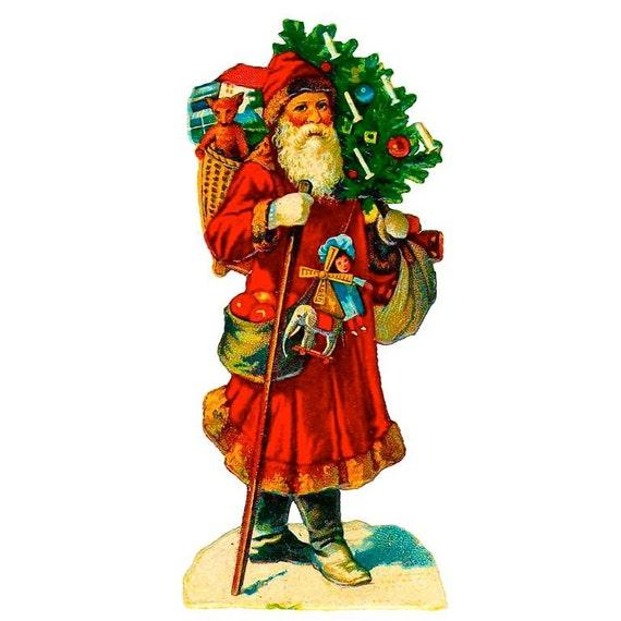 Vintage santa 2 hand cut wood wooden jigsaw puzzle 7 5 quot x 17 quot 175 225