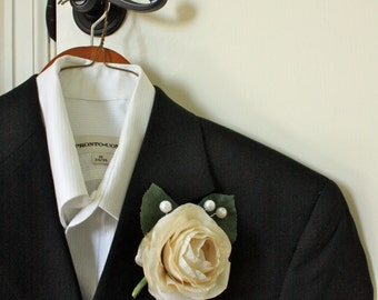 Open Ranunculus Boutonniere Buttonhole in Ivory Cream