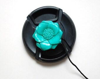 Lens Cap Leash - Camera Accessories - Camera Lens Cap Strap - Birthday Gift - Camera Lens Cap Holder - Photographer Gift - Turquoise Flower