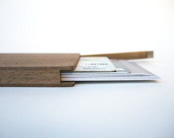 business and credit card holder. wood carry all. flip. with personalized text.
