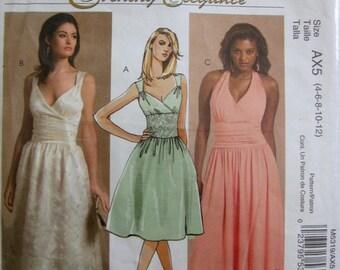 McCalls 5319 Evening Elegance Women Halter Dress Sewing Pattern Bust 29 to 34