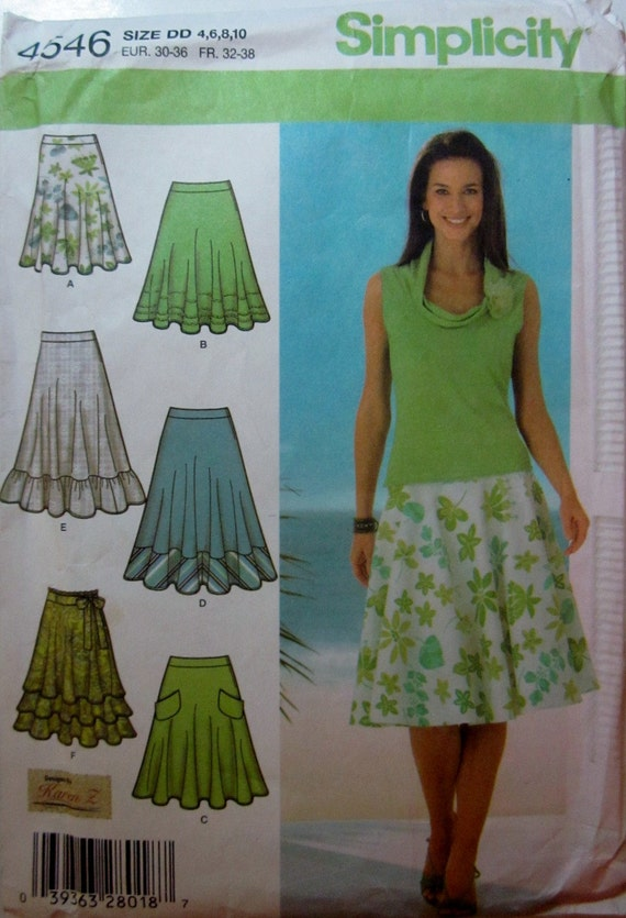 Simplicity 4546 Womens Three Quarter Circle Skirt Pattern Waist 22 to 25 Size 4 to 10
