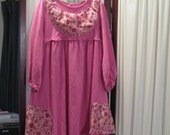 Reconstructed Recycled EcoFriendly Girls' LS Dress Sz 6 Pink with Pink Floral Indian Ethnic Super Cute
