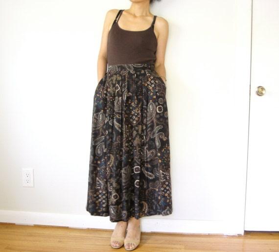 vintage women dark grey black paisley floral printed high waisted pleated full midi calf long skirt (size 4 6 8)