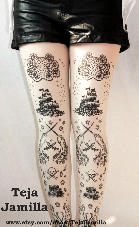 Pirate Printed Tattoo Tights Narwhal Sailor Lolita Small Medium Black on Cream Octopus Squid