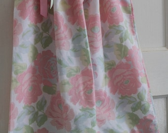 Shabby Chic Pink Rose and Mint Floral Pillowcase Dress Girls Size 5