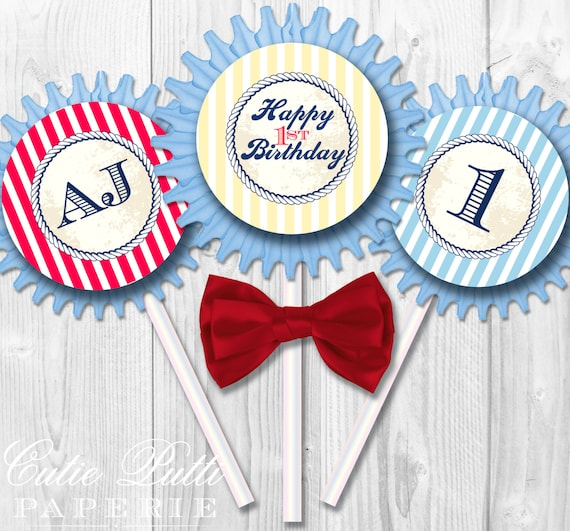 "Nautical Party Cupcake Toppers, 2"" Custom Party Squares By Cutie Putti Paperie"