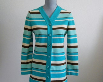 Vintage 50s 60s Turquoise Cream and Brown Striped Cardigan