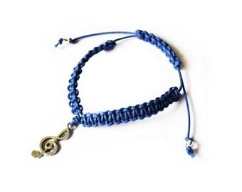 Unisex bracelet blue macramè and treble clef - for music lovers