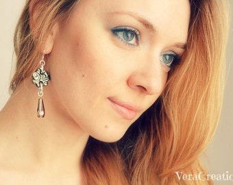 Flower dangle earrings in bronze polymer clay and drop crystals, spirals pattern