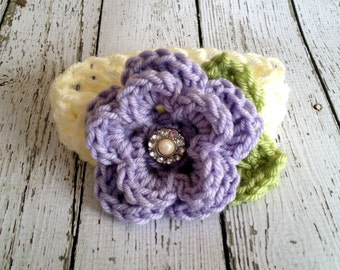 The Ava Flower Headband in Purple, Ecru and Celery Green Available in Newborn to 4t-  MADE TO ORDER
