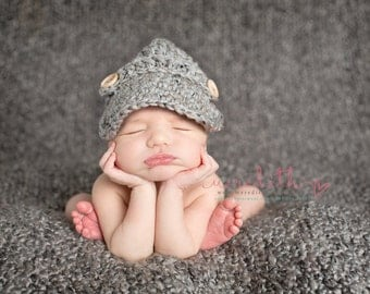 The Oliver Newsboy Cap/Visor Beanie/Baby Newsboy Hat in Gray Available in Newborn to 4 Years Size- MADE TO ORDER