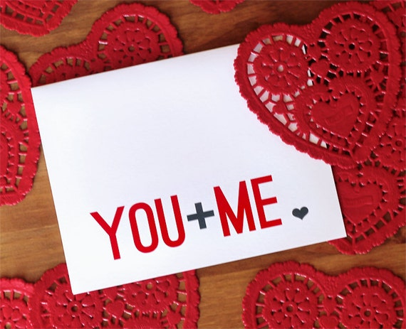 You Plus Me - Red  Grey and White Typography I Love You Card and Envelope