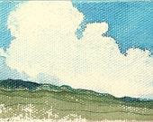 """Original Watercolor Miniature Landscape Trip-tych Collection, """"Battlements"""""""