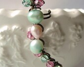 Mint Green Pearls Ear Cuff, Pink Pearls, Blush, Freshwater Pearls, Sparkling Swarovski Crystals, Ear Vine, Twisted Bronze Wire