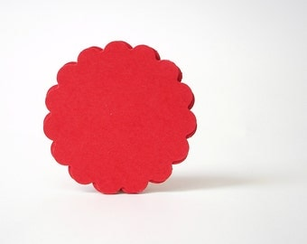 "25 - 2"" Red Scalloped Circle Punch Tags, Gift Tags, Cupcake Toppers, Scrapbooking, Embellishments - No661"