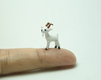 0.6 inch miniature white goat - Micro amigurumi crochet animal