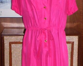 Vintage Hot Pink Silk Shirtwaist Dress with Gold Buttons - Bust 43 - Women - Style - Fashion - Summer