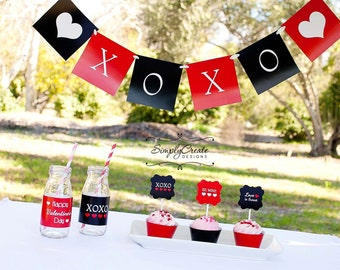 Valentine's Day DIGITAL Party Package Modern XOXO Valentines Printable Package