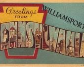 Williamsport Pennsylvania Large Letter Postcard