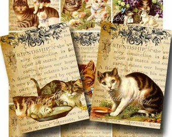 VINTAGE CATS on Old Friendship Page Digital Collage Sheet Print It Yourself Paper Crafts Whimsical Altered Art by GalleryCat CS4