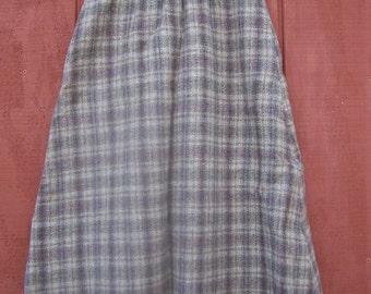 "Winter plaid wool skirt, brown tones 26"" Waist"