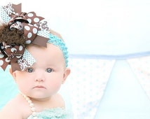 Brown and Turquoise Over the Top Boutique Hair Bow Headband