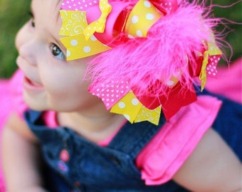 Baby Bows, Toddler Bows, Girls Hair Bows, Boutique Hair Bows, Hair Clip, Shocking Pink Yellow Over the Top Boutique Hair Bow, 6 Inch Bow