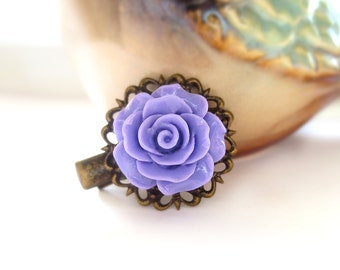 Purple Rose Antique Brass Alligator Hair Clip