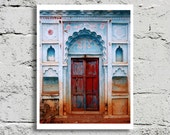 Wood Door Fine Art Photography, Orcha India, Weathered Red Door, Faded Blue Stucco, 8x10 Print,, Affordable Art, Home Decor