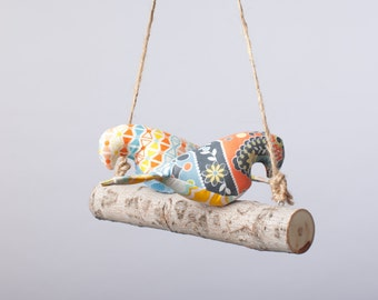 Love Birds Mobile in Gender Neutral Pastel Fabrics
