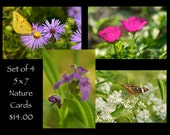 Nature Photo Greeting Card Set - Buy Four and Save - press printed linen texture, blank inside, butterfly, wildflowers