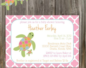 SEA TURTLE Baby Shower Invitation & Banner Package - Girl Printable