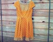 Large / Brown Flower Vintage Inspired Dress / Repurposed Women's Dress