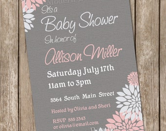 Girl Baby Shower Invitation Flower Pink and Grey printable invitation 20130115-K4-1