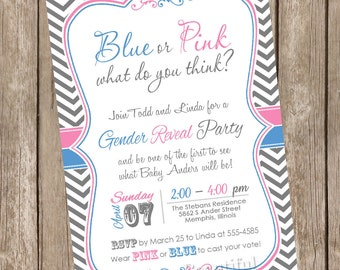 Pink and Blue Chevron Gender Reveal Invitation Baby Reveal Invite printable invitation - genderreveal2