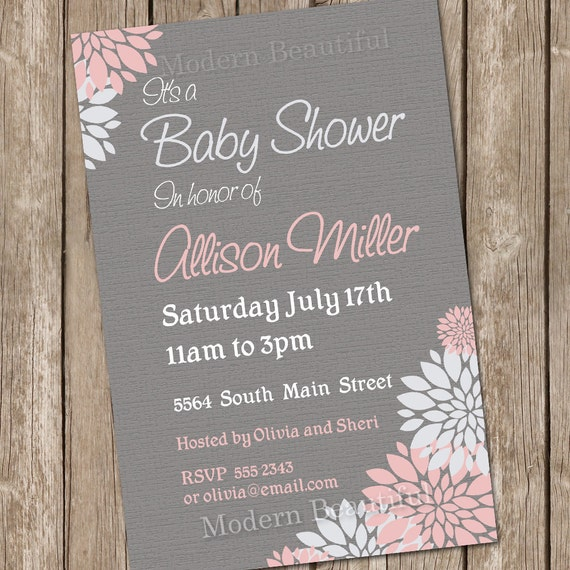 girl baby shower invitation flower pink and grey printable