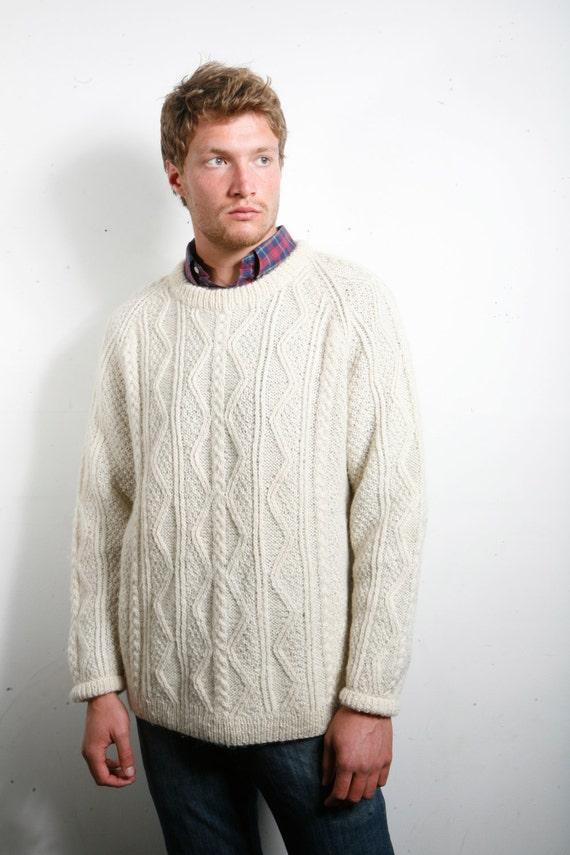 Mens vintage cream chunky aran cable knit jumper Small Medium chest 40