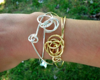 Gold Knot Bangle / Twisted Gold Bangle / Stacking Bracelet