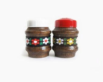 Austrian Vintage Salt & Pepper Shakers, Wood, Floral Trim, Red, White