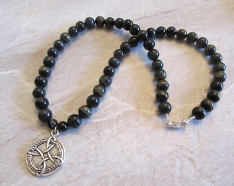 Mens Beaded Celtic Necklace with Blue Tigers Eye
