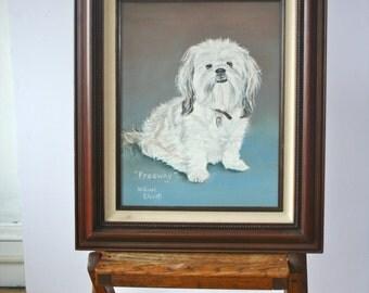 Vintage Oil Painting: White Dog Portrait