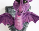 OOAK needle felted adorable green eyed DRAGON