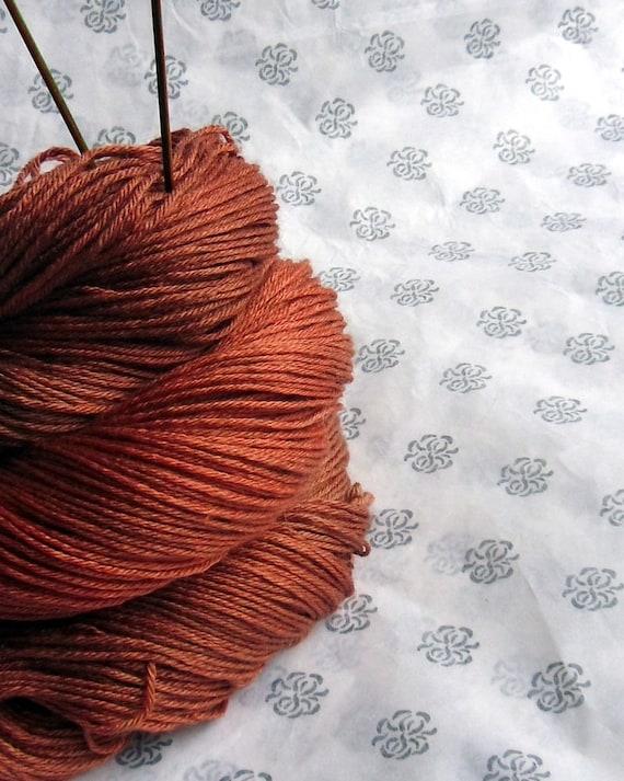 Hand Dyed Sock Yarn BFL Wool Silk 100g - Gingerbread